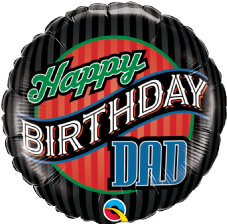 'Happy Birthday Dad' Stripes Foil Balloon